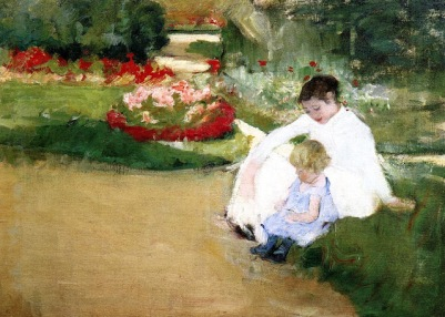 b Mary Cassatt (American artist, 1844-1926) Woman and Child Seated in a Garden
